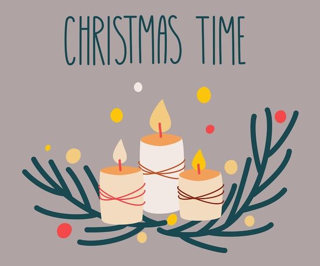 Rama de navidad con velas de fuego. feliz año nuevo o tarjeta de navidad. perfecto para tarjetas de felicitación, invitaciones, desolladores. ilustración de dibujos animados de vector de decoración de invierno brillante.