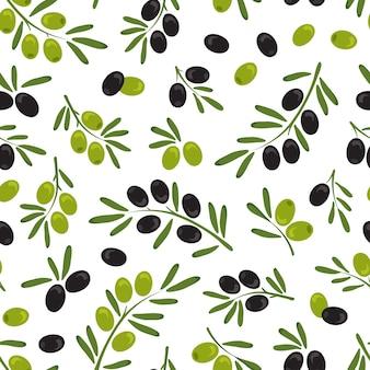 Rama de olivo con aceitunas y hojas de patrones sin fisuras