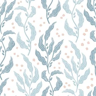 Rama de olivo floral frondoso de patrones sin fisuras.