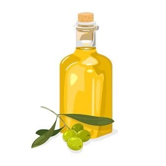 Rama de olivo verde con hojas y aceite amarillo virgen extra fresco en botella de vidrio tapada con corcho.