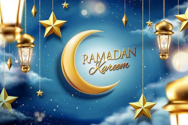 Ramadán diseño mágico cielo nocturno con estrella dorada colgante y fanoos.