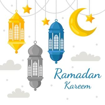 Ramadán en diseño plano