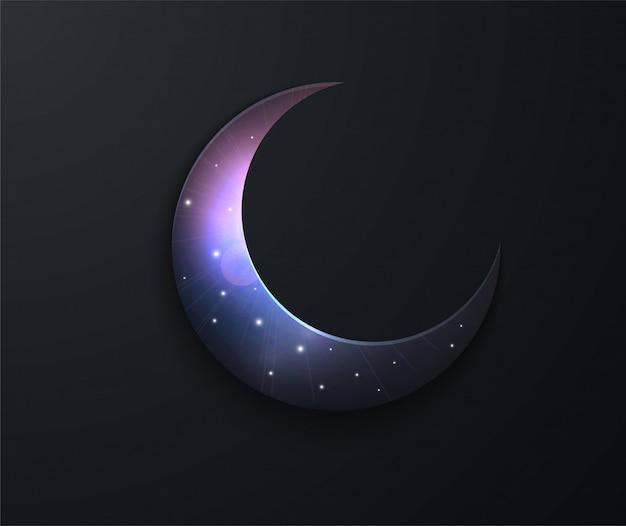 Ramadán fiesta musulmana del mes sagrado. noche de luna llena. ilustración vectorial de espacio