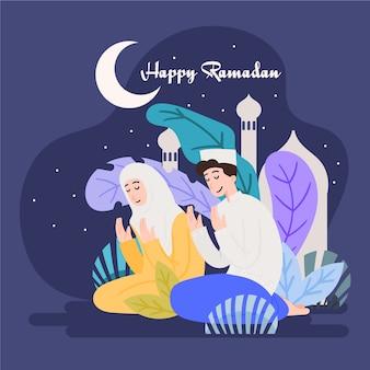 Ramadán con hombre y mujer rezando