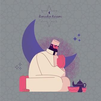Ramadán con hombre rezando