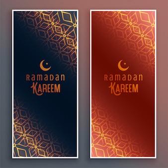 Ramadán islámico kareem banners verticales