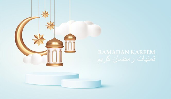 Ramadán kareem 3d símbolos realistas de las fiestas árabes islámicas