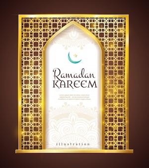 Ramadán kareem adorno tradicional con marco dorado