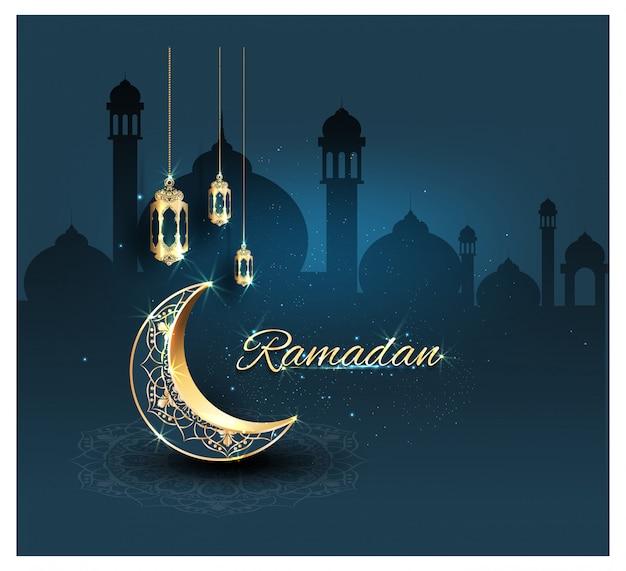 Ramadan kareem con adornos dorados.