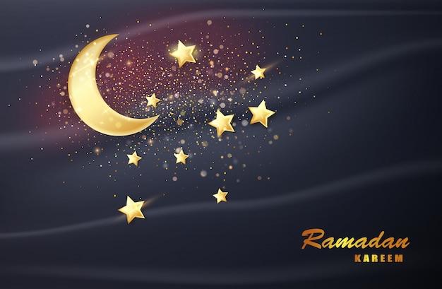 Ramadan kareem banner con luna. decoración de la tarjeta eid mubarak. islam, bandera de la religión musulmana.
