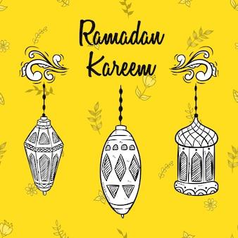 Ramadan kareem en blanco y negro con linterna dibujada a mano
