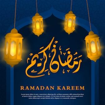 Ramadán kareem caligrafía fondo premium
