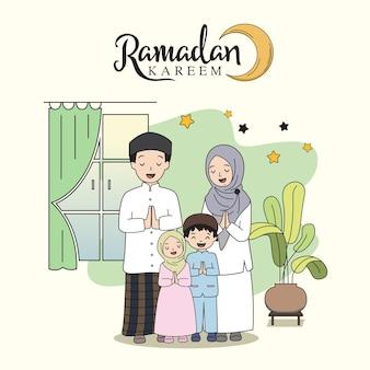 Ramadán kareem celebración familiar plana
