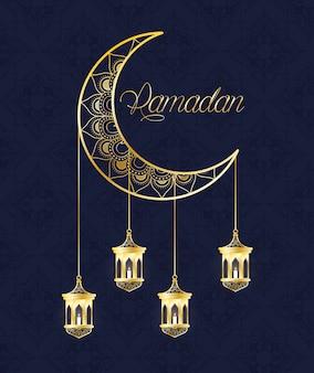 Ramadán kareem celebración lámparas colgantes y luna