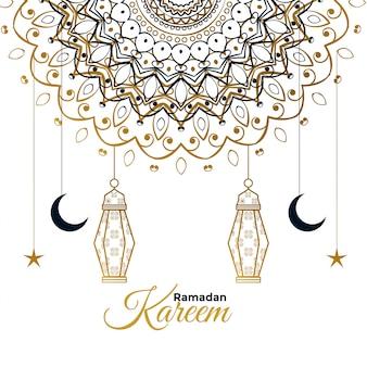 Ramadan kareem decorativo hermoso saludo