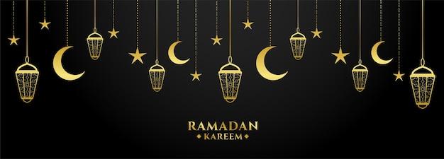 Ramadán kareem diseño de banner decorativo dorado y negro.