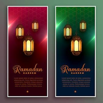 Ramadán kareem diseño de banner con lámparas realistas.