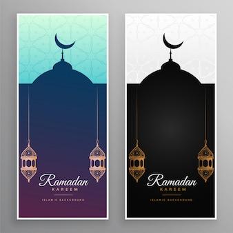 Ramadán kareem diseño de banner de mezquita y lámparas