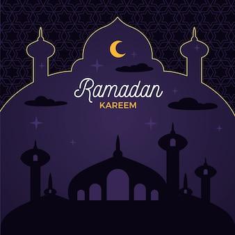 Ramadán kareem diseño plano eid mubarak noche