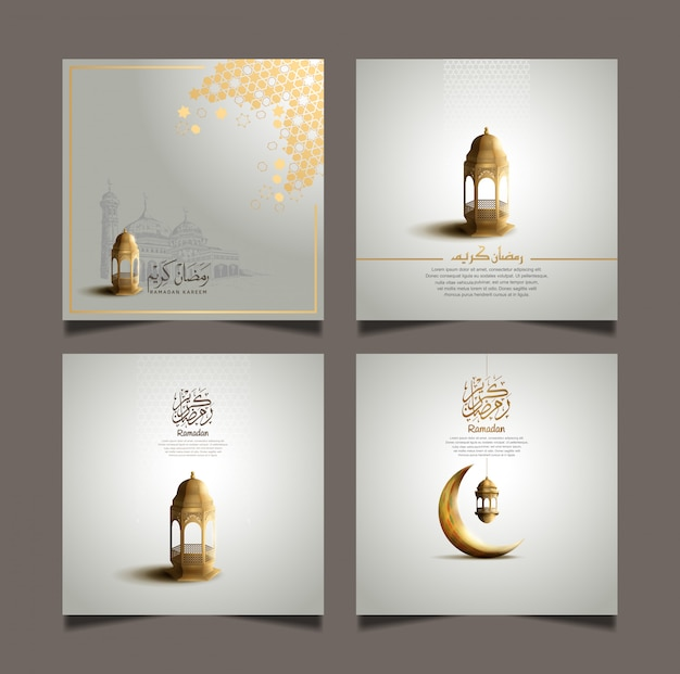 Ramadán kareem establece diseños para la celebración del santo ramadán