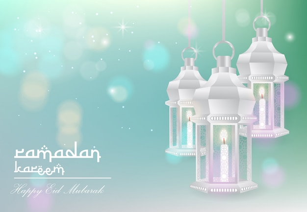 Ramadán kareem y feliz fondo eid mubarak