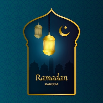 Ramadán kareem feliz realista con marco dorado