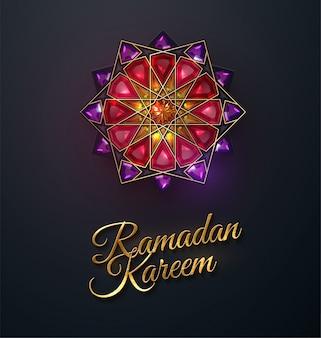 Ramadán kareem. flor abstracta girih incrustada con cristales rojos. ilustración. diseño de adornos de joyería islámica. eid mubarak. mes sagrado musulmán ramadán decoración.