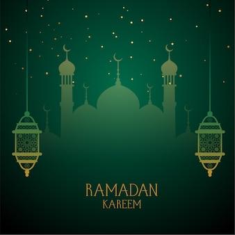 Ramadan kareem green desea saludo.
