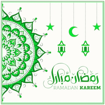 Ramadan kareem green mandala para redes sociales
