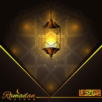 Ramadán kareem hermosa linterna árabe brillante