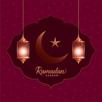 Ramadan kareem hermosa tarjeta de felicitación con linternas colgantes