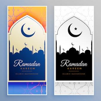 Ramadán kareem hermoso conjunto de banners