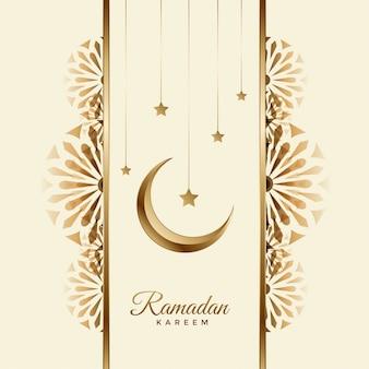 Ramadán kareem hermoso fondo con luna y estrella
