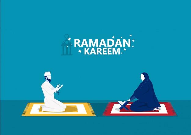 Ramadán kareem, el hombre reza y lee el corán