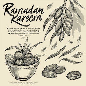 Ramadán kareem iftar elementos del partido grabado ilustración
