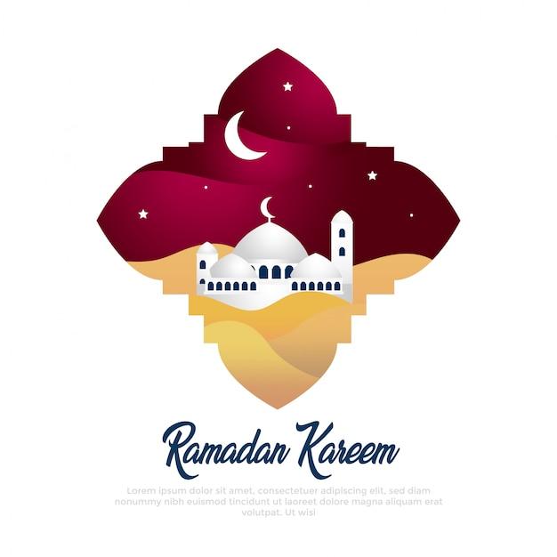 Ramadan kareem ilustración de arte en papel con mezquita