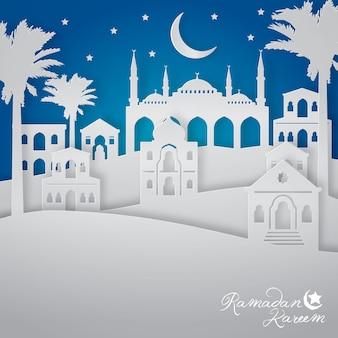 Ramadán kareem con ilustración de vista de la ciudad paisaje árabe