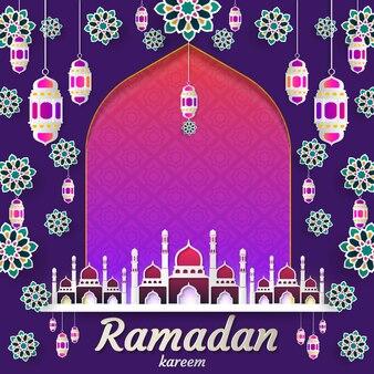 Ramadan kareem de invitaciones diseño papel corte islamico