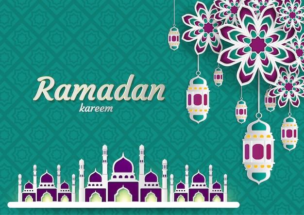 Ramadan kareem de invitaciones diseño papel corte islamico.