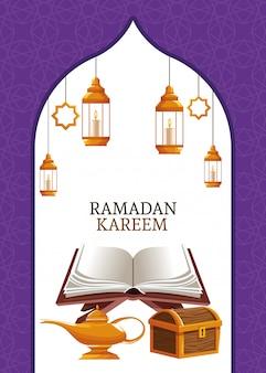 Ramadan kareem con koran y pecho.