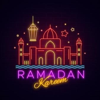 Ramadán kareem letras letrero de neón