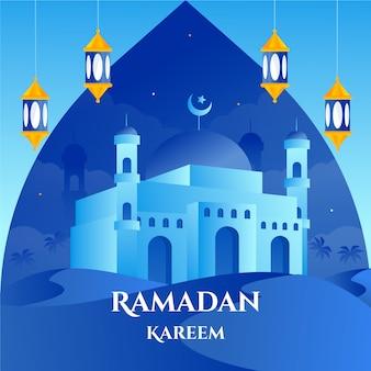 Ramadán kareem letras con mezquita