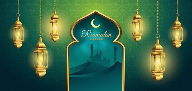 Ramadán kareem con linterna y pared verde.
