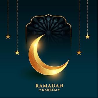 Ramadán kareem con luna creciente dorada
