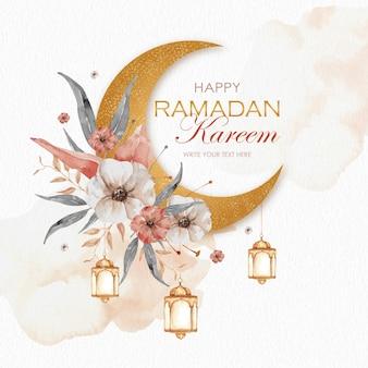 Ramadán kareem con luna dorada y acuarela floral.