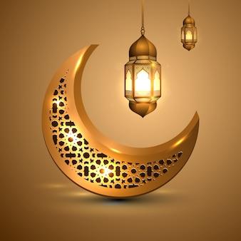 Ramadán kareem con luna dorada y linterna islámica.