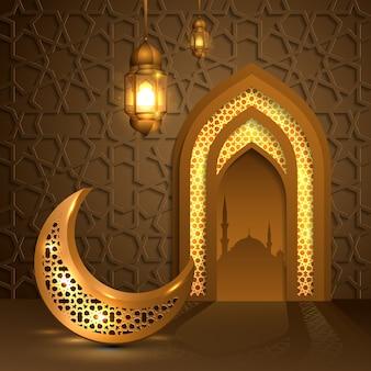 Ramadán kareem con luna dorada y linterna, puerta mezquita islámica