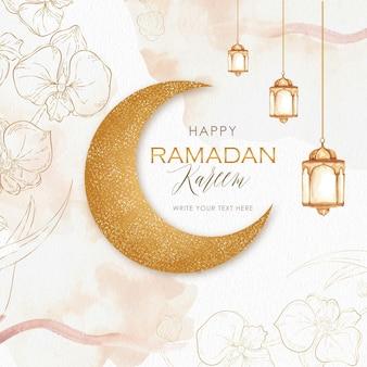 Ramadán kareem con luna dorada y linterna.