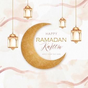 Ramadán kareem con luna dorada y salpicaduras.