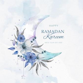 Ramadán kareem con luna y flores moradas.